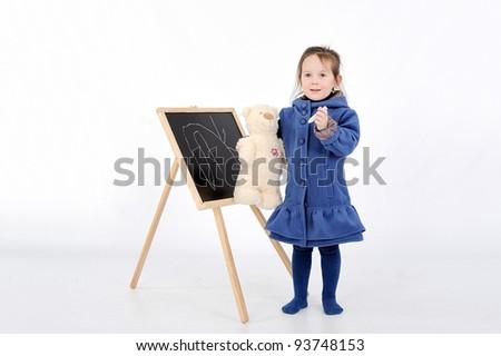 girl near presentation board - stock photo