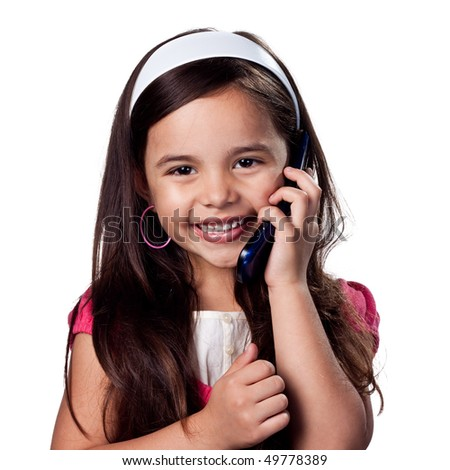 Girl on a cell phone talking - stock photo