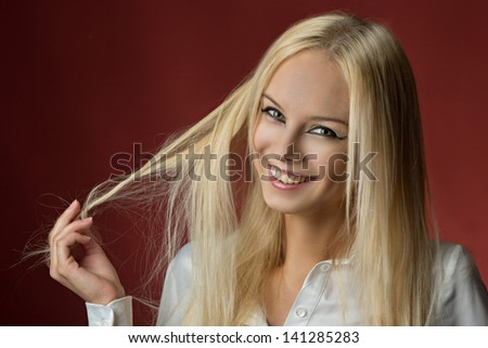 girl on a red background - stock photo
