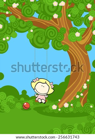 Girl on a swing (raster version) - stock photo