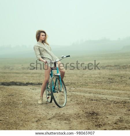 girl on bike - stock photo