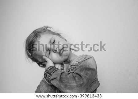 girl on grey background - stock photo