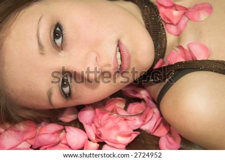 girl on roses - stock photo