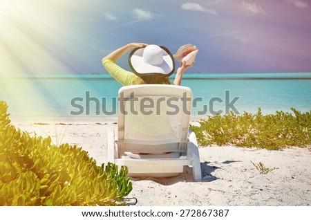 Girl on the beach of Exuma, Bahamas - stock photo