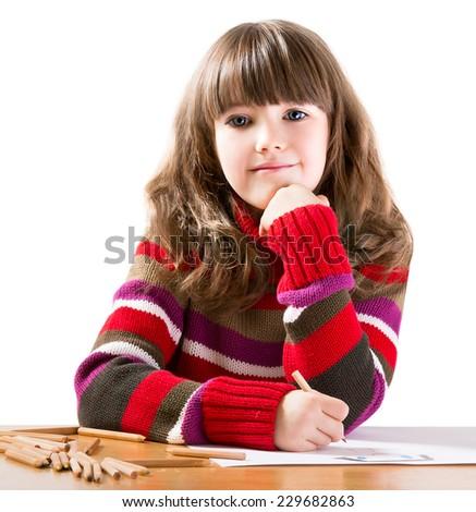 GIRL ON WHITE BACKGROUND - stock photo