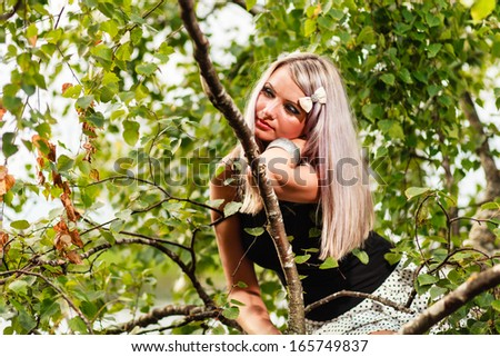 Girl outdoor portrait. - stock photo