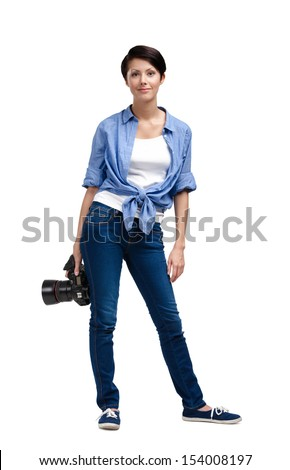 Girl-photographer takes images, isolated on white - stock photo