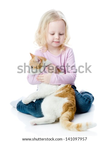 girl playing with cat.  isolated on white background - stock photo