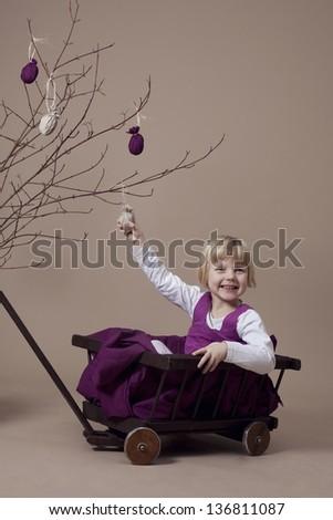 Girl portrait during Easter - stock photo