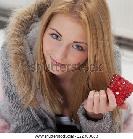 Girl preparing for romantic evening - stock photo