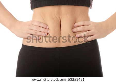 Girl pressing her stomach, isolated - stock photo