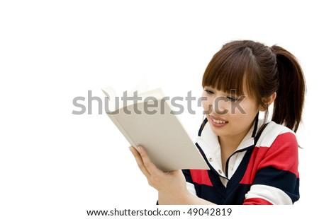 girl reading book - stock photo