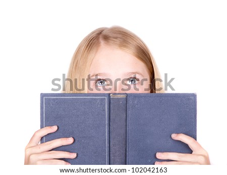 Girl reading book looking up isolated on white - stock photo