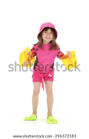 Girl Ready For Swimming - stock photo
