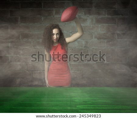 girl ready to play american football - stock photo