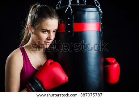 Girl relaxing in box training - stock photo