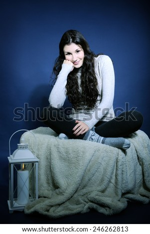 girl resting at home - stock photo