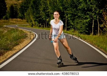 Girl rollerblading - stock photo