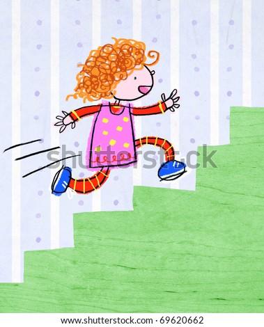 Girl Running Upstairs-- Child-like illustration - stock photo