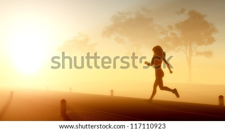 Girl runs on the road. - stock photo