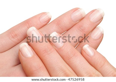 Girl's hands with perfect nail manicure - stock photo