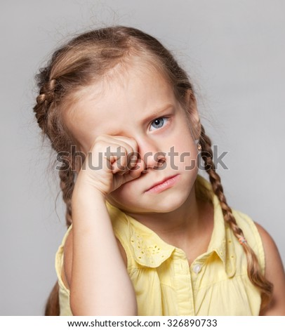 girl school girl sad crying - stock photo