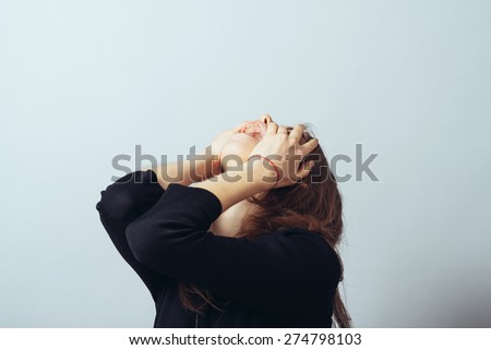 girl screaming - stock photo