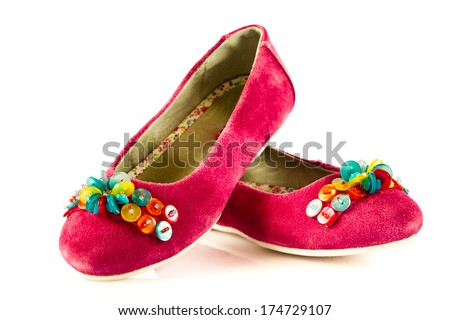 Girl shoes footwear isolated on white background - stock photo