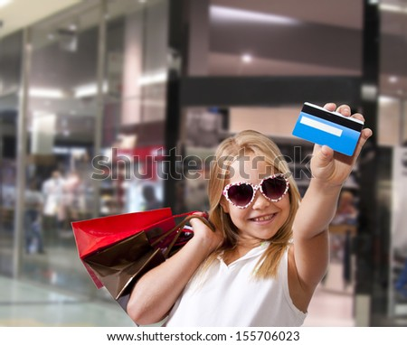 girl shopping at the mall - stock photo