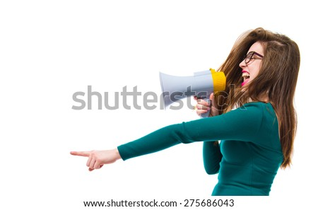 Girl shouting down by megaphone   - stock photo