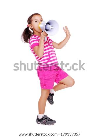 girl shouting in loud speaker - stock photo