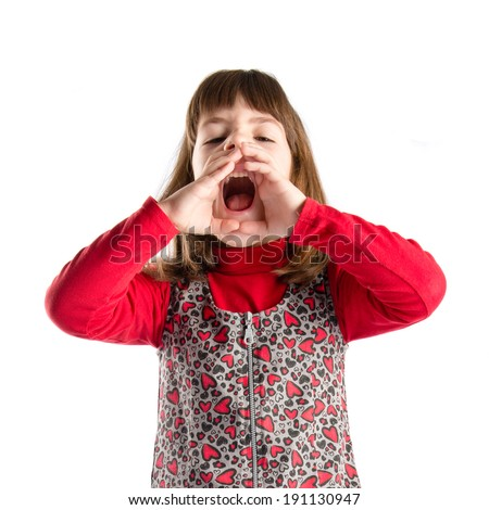 Girl shouting over isolated white background  - stock photo