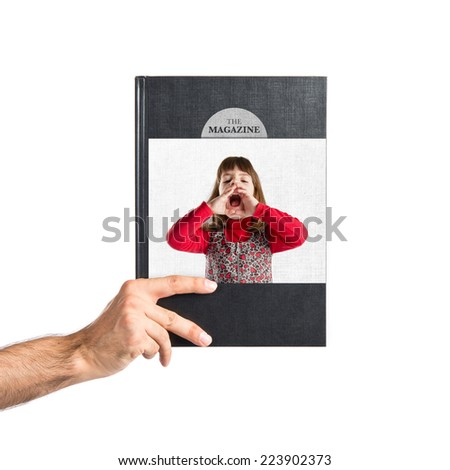 Girl shouting printed on book - stock photo