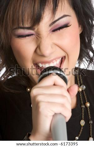 Girl Singing Karaoke - stock photo
