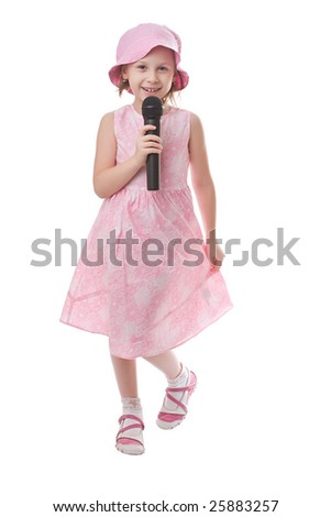Girl sings a song in a microphone isolated on a white background - stock photo