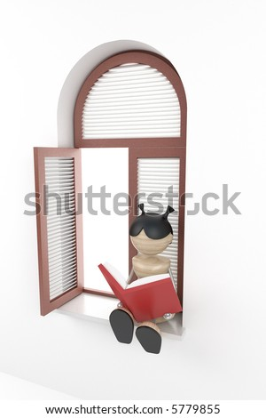girl sit in window-sill and read book - stock photo