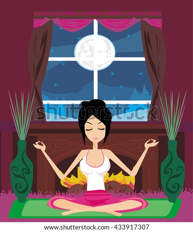 girl sits and meditates  - stock photo