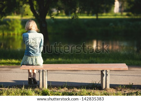 A Girl Sitting Alone In The Sunset Sketch girl sitting alone on a bench