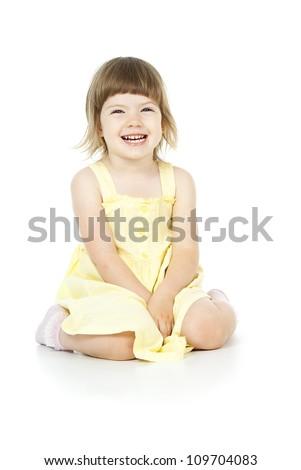 girl sitting on the floor - stock photo
