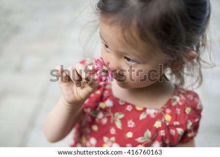 Girl smell the fragrance of flower - stock photo