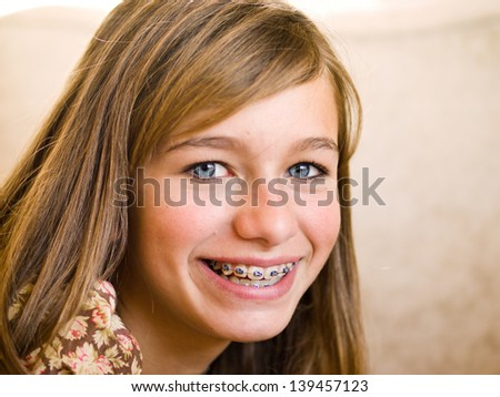 Girl Smiling with Braces - stock photo