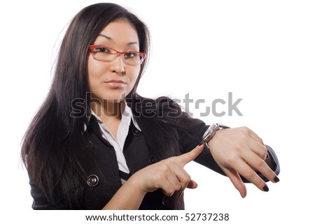 girl specifying in time - stock photo
