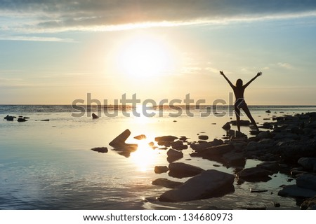Girl standing arms outstretched at sunset - stock photo