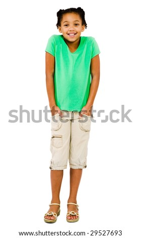 Girl standing with her hands in her pockets isolated over white - stock photo