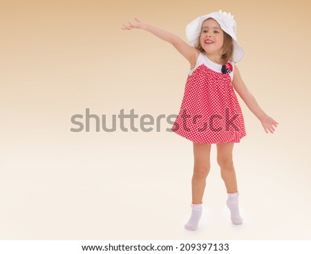 Girl summer panama hat and short dress waving .kindergarten, the concept of childhood and joy, teens - stock photo