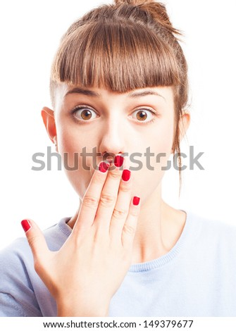 girl surprised covering her mouth on a white background - stock photo