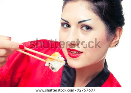 girl  sushi - stock photo