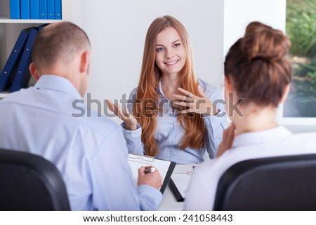 Girl talks about her experience for an job interview - stock photo
