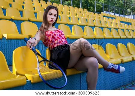 girl tennis player outdoor  - stock photo