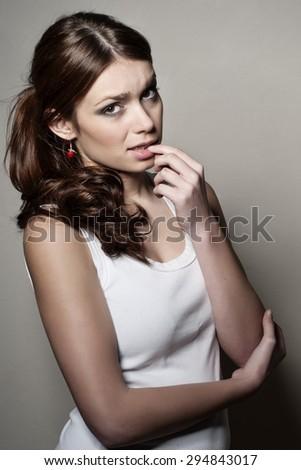 Girl thinking about something - stock photo